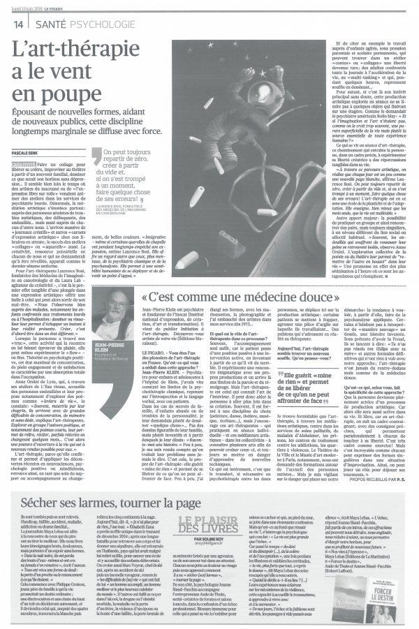 Coupure de presse d'un article sur l'art-thérapie paru dans le Figaro du 13 juin 2016